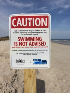 Caution Swimming Sign