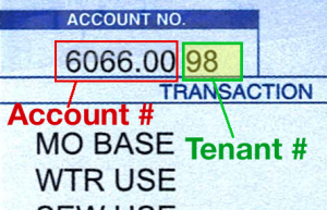 View section of water bill with account and tenant numbers