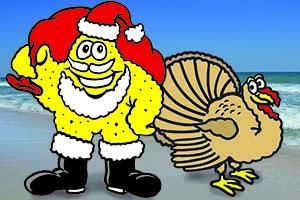 Thanksgiving events Santa Sandy art with Turkey cartoon art